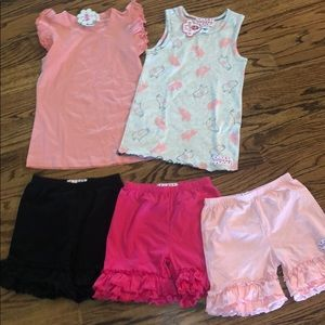 Lot of size 6 ruffle girl tops/bottoms NWT